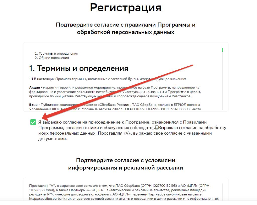 Так выглядит страница регистрации и принятия правил программы СберСпасибо