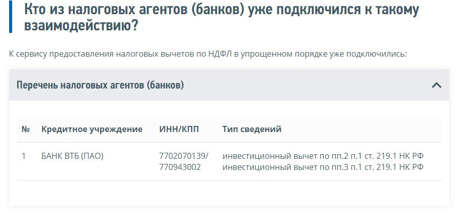 Скриншот с сайта ФНС со списком банков, подключившихся к системе обмена данными